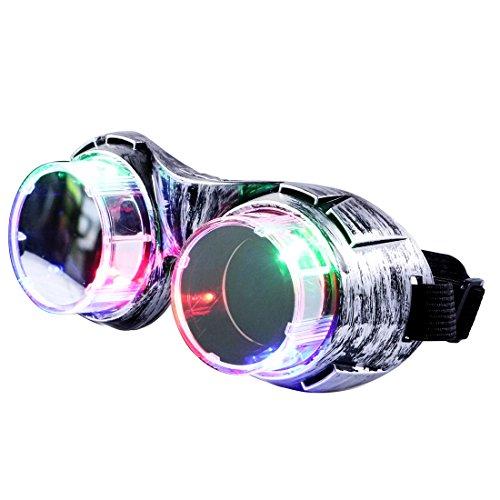 Weihnachten Brille (Leuchtbrille, Aomeiqi Led Brille lustige Brille blinkende Brille Weihnachts Brille mit bunten Lichtern, Partybrille Steampunk Brille led sonnenbrille für Weihnachten, Party, Geburtstag (Silber))