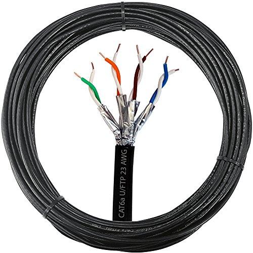 50m CAT. 6a Outdoor spezifische Folie geschirmt/Abgeschirmtes Kabel–Pure Kupfer, Solid Core, 23AWG U/FTP Ethernet Netzwerk Internet Externe Draht Daten Spule Drum–Cablefinder (Cat 6 Geschirmt Solid)