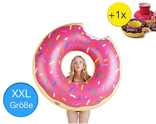 XXL Aufblasbarer angebissener Donut mit Biss Schwimmring Schwimmreif Luftmatratze Schwimmkissen für Pool, mit 1x aufblasbaren Getränkehalter für Cocktails, Getränke uvm. (Pinker Donut)