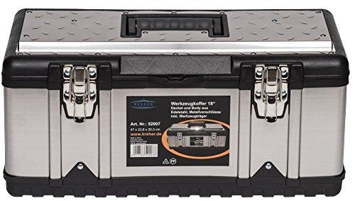 XL Werkzeugkoffer PROFI 18 aus Edelstahl mit robustem Kunststoff-Rahmen und herausnehmbaren Werkzeugträger. Mit Metallverschlüssen, abschließbar. Maße: 47 x 23,8 x 20,3 cm - 3