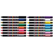 Uni Posca PC-1MR Assorted Colour Pack Paint Marker Pens Ultra Fine 0.7mm Calibre Tip Nib Writes On Any Surface Glass Metal Wood Plastic Fabric (1 Of Each Colour - 16 Pens) by Posca
