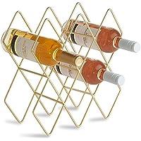 VonShef Botellero de 8 Botellas de Vino/Sostenedor/Estantes/Almacenamiento – Metal Dorado Cepillado Y Diseño Geométrico