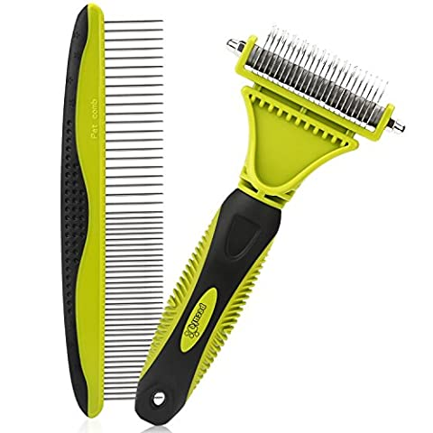 Pecute Grooming Dematting Comb Tool Kit - Double Sided Blade Rake Comb + Grooming Comb - Removes Loose Undercoat, Knots, Mats and Tangled Hair