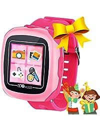 """Niños Relojes Inteligentes con Juegos,1.5""""Touch Niños Rastreador Podómetro Reloj de Cuenta de Pasos Temporizador Digital de Salud Regalos de Cumpleaños al Aire Libre para Niño Niña (Rosa)"""