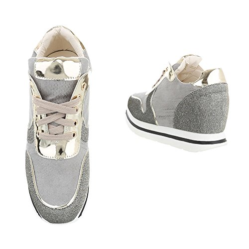 Ital-Design Low-Top Sneaker Damenschuhe Low-Top Keilabsatz/Wedge Sneakers Schnürsenkel Freizeitschuhe Gold