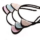 Bonita diadema con forma de orejas de conejo o gato con piedras brillantes, color aleatorio