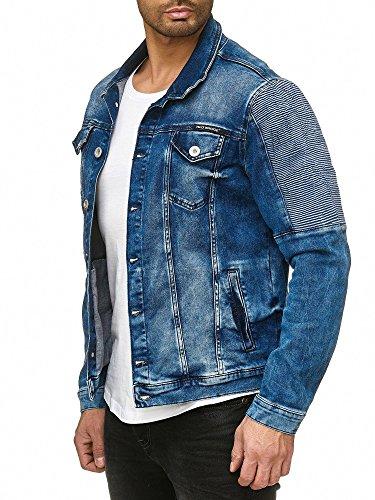 Red Bridge Herren Jeansjacke Biker Style Jeans Jacket Blue Denim Jacke Blau M6058 M - 3