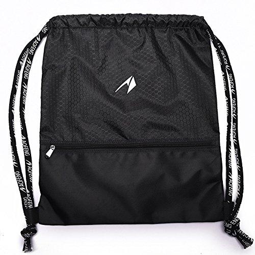 Zaino coulisse di Lintimes traspirante nylon GYMSACK borsa da palestra, zaino unisex per adulti e bambini scuola sport viaggi shopping fitness, Black