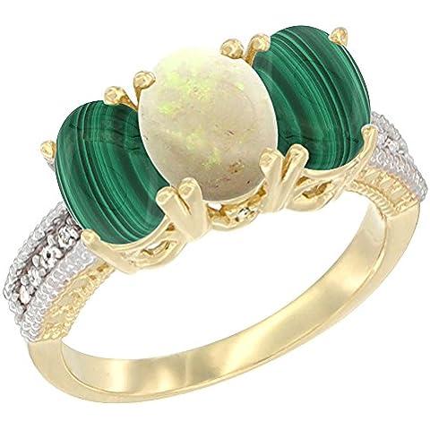 14kt oro giallo opale naturale anello con 3-Stone malachite ovale 7x 5mm Diamante Accent, misura