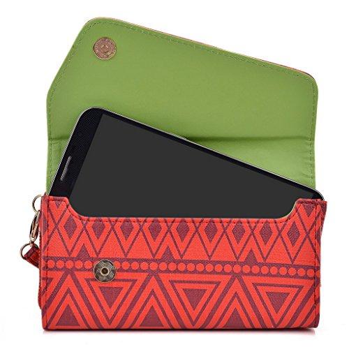 Kroo d'embrayage avec dragonne Portefeuille 16cm Smartphones et phablettes pour Sony Xperia T2Ultra Multicolore - Brun Multicolore - rouge