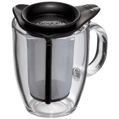 Bodum - K11239-01 - Yo-Yo - Set Mug Infuseur Individuel en Verre Trempé - Filtre Nylon - 35 cl - Noir
