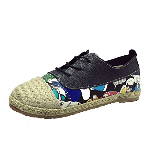 DYF Chaussures Femmes Nu Broderie Style National Télévision Fond Mou,