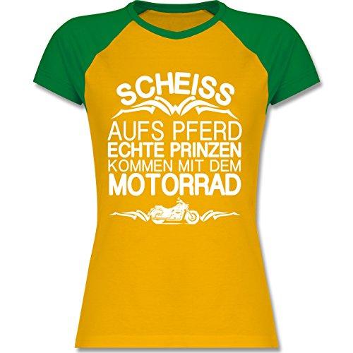 Motorräder - Scheiß aufs Pferd echte Prinzen kommen mit dem Motorrad - L - Gelb/Grün - L195 - zweifarbiges Baseballshirt / Raglan T-Shirt für Damen (Raglan-motorrad)