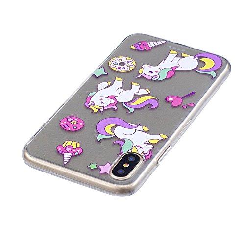 Custodia Cover Per Apple iPhone X 5.8 , WenJie fenicotteri Trasparente Silicone Sottile Back Case Molle di TPU Trasparente per Apple iPhone X 5.8 FD59