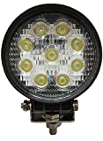 #9: AutoSun 27W Flood Round Work LED Light Fog Driving DRL Offroad SUV Boat Truck ATV Car (Pack of 1)