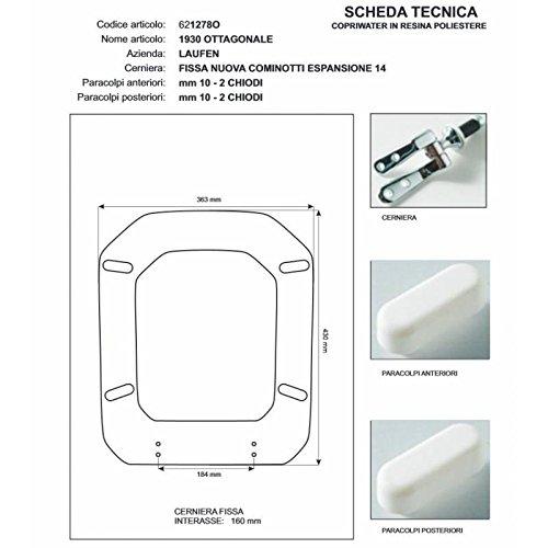 ACB/COLBAM Holz-Toilettendeckel mit Polyesterbezug,1930 achteckig, weiße, Cromo - Duravit Scharnier