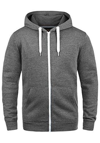 !Solid Olli Ziphood Herren Sweatjacke Kapuzenjacke Hoodie mit Kapuze Reißverschluss und Fleece-Innenseite, Größe:M, Farbe:Grey Melange (8236) Zip Neck Fleece Pullover