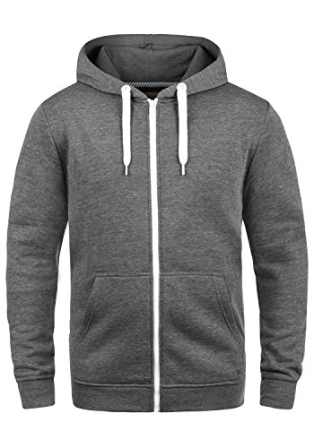 !Solid Olli Ziphood Herren Sweatjacke Kapuzenjacke Hoodie mit Kapuze Reißverschluss und Fleece-Innenseite, Größe:L, Farbe:Grey Melange (8236) Herren Zip-hoodies