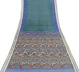 Indian Vintage-Sari reine Seide Blau Saree Nizza Printed