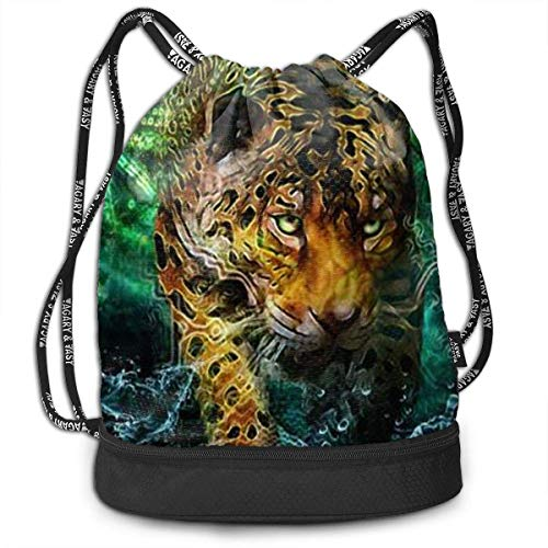 Green Tiger-print (Rucksäcke,Sporttaschen,Turnbeutel,Daypacks, Funny Dance Gift Unisex Drawstring Fashion Beam Backpack Green Eyed Tiger Print Backpack Travel Gym Tote Cosmetic Bag)
