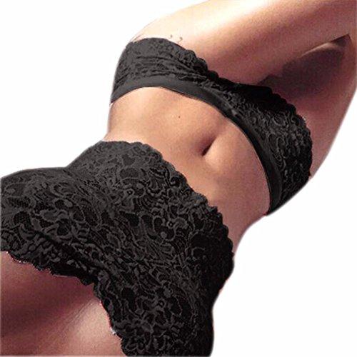 Vovotrade® Donne Lace Top senza spalline slip biancheria intima set