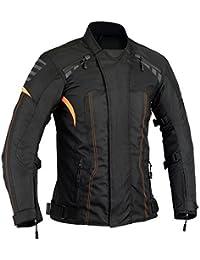 Naranja moto chaqueta de protección impermeable térmico desmontable