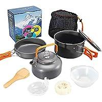 Juego de utensilios de cocina y tetera para excursionistas al aire libre, ollas apilables y ligeras ollas para mochileros, camping, senderismo y picnic., Mango naranja.