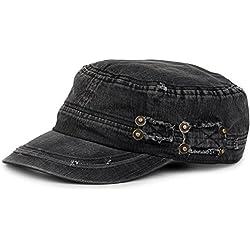 styleBREAKER Military Cap im Washed, Used Look, verstellbar 04023011, Farbe:Schwarz
