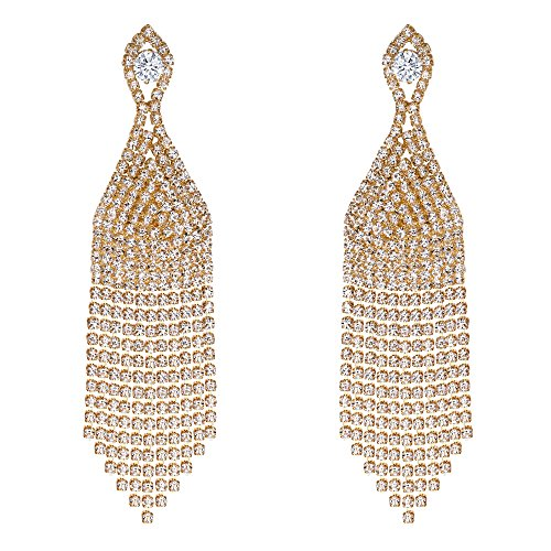 Clearine Damen Hochzeit Braut CZ Kristall Perlen Quaste Fringe Kronleuchter baumeln Ohrringe klar Gold-Ton