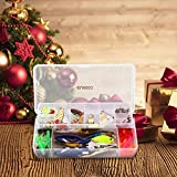 ENKEEO Fishing Lures Set 106 Pcs Tackle Box with Hooks Bass Metal Baits Jig Head Weights Sinker Popper Soft Plastic Worms Scissors Swivel Grub and More
