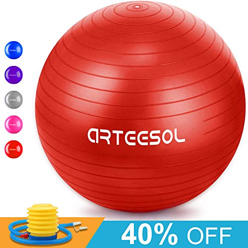 Gymnastikball, Arbeesol 65cm / 75cm Fitness Yoga Ball Anti-Burst Stabilität Balance Ball mit Pumpe für Core Strength (Rot, 75cm)