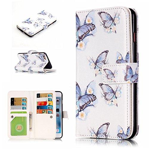 Cozy Hut Schutzhülle Apple iPhone 6 6S Plus Hülle im Bookstyle Blaue Federn mit Magnetverschluss und Standfunktion Kunstleder Wallet Case für iPhone 6 Plus / 6S Plus (5,5 Zoll) - Blaue Federn Blauer Schmetterling