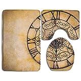 OQUYCZ Old Vintage Clock Vintage Filter Bathroom Rug 3 Piece Bath Mat Set Contour Rug and Lid Cover