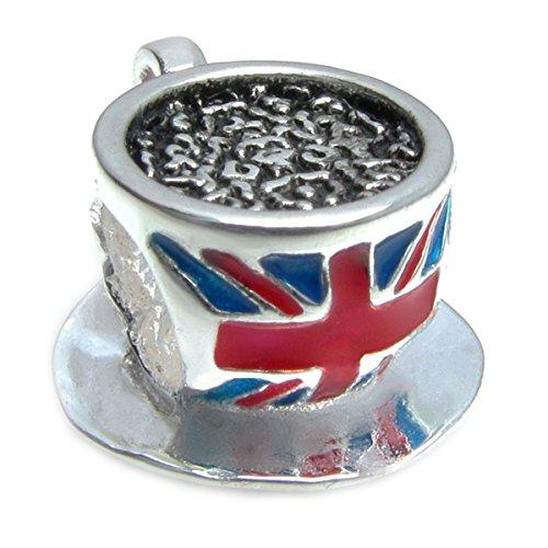 Schmuckanhänger aus Sterlingsilber von Queenberry, emailliert, Design: Britische Flagge, passend für Anhänger-Armbänder im europäischen Stil