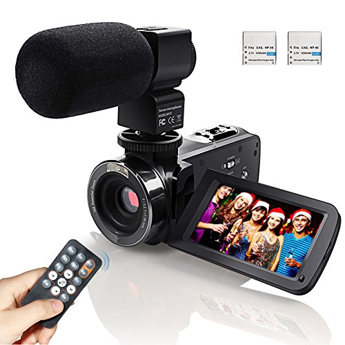 Video Camcorder, Eamplest Full HD 1080P 24MP IR Infrared Night Vision Camera Camcorder with 16X Digital Zoom, 3 Inch LCD 270 Degree Touch Screen Video Recorder With External Microphone (HDV-301M)