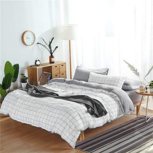 UOUL Bettwäscheset aus gewaschener Baumwolle 4-teilig atmungsaktiv mittleres Plaid Geeignet für Teenager Kinderzimmer King-Size-Bett,White,California King -