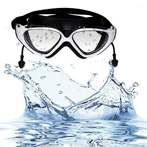 Bezzee-Pro Schwimmbrille mit Integrierten Ohrstöpseln - Taucherbrille Triathlon SchwimmbrillenSchutzbrille UV-Schutz mit Schutz Etui für Unisex Erwachsene Männer & Frauen -