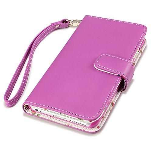 Terrapin Handy Leder Brieftasche Case Hülle mit Kartenfächer für iPhone 6S Plus / iPhone 6 Plus Hülle Pink mit Blumen Interior Pink mit Blumen Interior