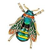 Homyl Vintage Honigbiene Form Brosche Hochzeit Brautstrauß Kristall Verschönerung Geschenk für Unisex - Grün