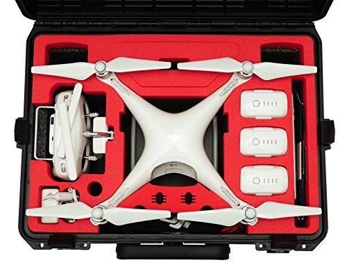 Profi Transportkoffer, Koffer für DJI Phantom 4 Pro/Pro+/Advanced/Adv+ (mit und ohne Display), Platz für 6 Akkus + viel Zubehör, wasserdichter Outdoor Case IP67, made in Germany