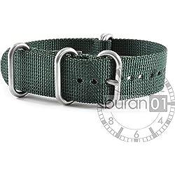 VK from Buran01.com NATO WATCH STRAP FOR NYLON STRONG ZULU Darkgreen (green) 18 mm