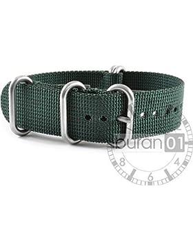 VK von Buran01.com WATCH STRAP FOR NATO NYLON STRONG ZULU Darkgreen (grün) 18 mm