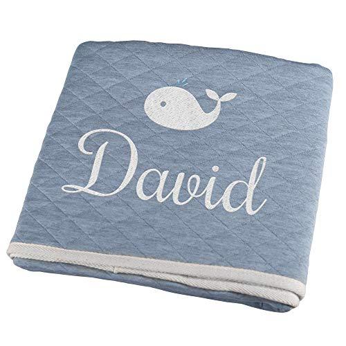 Personello® Babydecke mit Name bestickt (Wal), blau, Premium, Bio Baumwolle, personalisiertes Baby Geschenk Junge