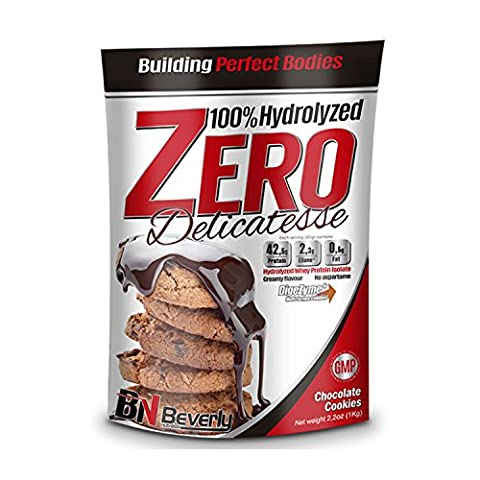 Beverly Nutrition Exclusive pour ABSat40 Delicatesse Zero Formule de protéines hydrolysées professionnelles - 42,5 grammes de protéines par portion. - 1 KG (Biscuits au chocolat délicieux)