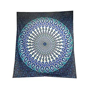 Tagesdecke paisley mandala blau t rkis berwurf indische for Tagesdecke paisley