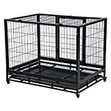 "PawHut 38"" Heavy Duty Metal Dog Kennel Pet Cage with Crate Tray"