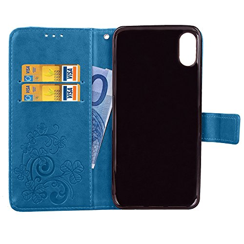 EKINHUI Case Cover Doppeltes magnetisches Verschluss-Muster PU-lederner Fall-horizontaler Schlag-Standplatz-Fall mit geprägter glücklicher Blume u. Mappen-Funktion u. Kickstand für iPhone X ( Color :  Blue