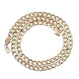 DAY.LIN Männer Frauen Mode Luxus gefüllt Curb Cuban Link Gold Halskette Schmuck Kette (Gold)