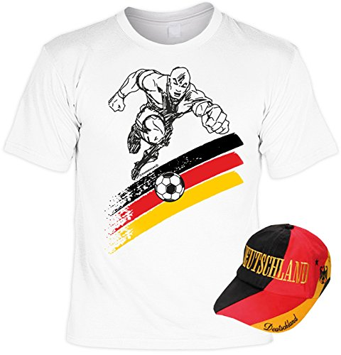 Fußball Deutschland T-Shirt mit Baseball Cap, 2er Set, Fanartikel, Fantrikot - Fußballspieler! Weiß