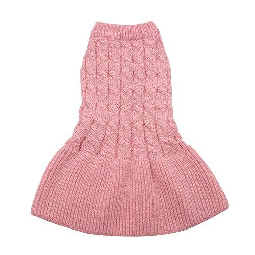 Zantec Haustier Hund stricken Pullover Katze Welpen Winter warme schöne Prinzessin Kleid Jacke Mantel rosa (Rock Textur Stricken)